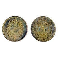 Breton-589. Gesangverein. 5 Cents. Arms. Brass. ICCS Mint State-62.