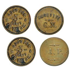 Breton-627. Marcotte G.N. 5 Cents. Brass. ICCS Extra Fine-40. Breton-629. A.P. 5 Cents. Brass. ICCS