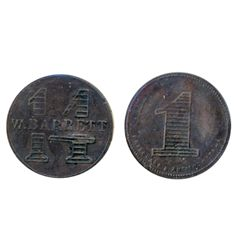 Breton-627. Marcotte G.N. 5 Cents. Brass. ICCS Very Fine-30. Breton-747. W. Barrett. 14 Cents. ICCS