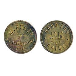 Breton-631. M. Foley. 25 Cents. Drink. Brass. ICCS Mint State-63.