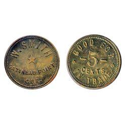Breton-632. W. Smith. Gatineau Point. 5 Cents. Brass. ICCS Mint State-63.