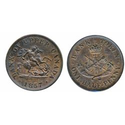 Breton-719. PC-6D. Upper Canada. 1857. Penny. CCCS graded AU-50. Breton-720. PC-5D. 1857. Half Penny