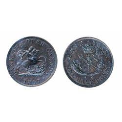 Breton-720. PC-5D. Upper Canada. 1857. Half Penny. ICCS AU-55.
