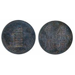 Breton-747. W. Barrett. 14 Cents. Copper. ICCS Mint State- 60.