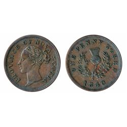 Breton-873. NS-2C1. One Penny Token. 1840. ICCS Extra Fine-40.