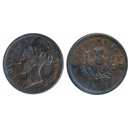 Breton-873. NS-2C1. One Penny Token. 1840. ICCS Extra Fine-40.