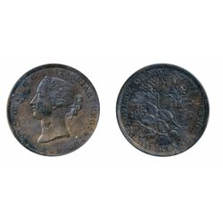 Breton-876. NS-5A1. Half Penny Token. 1856. Medal alignment. ICCS AU-55.