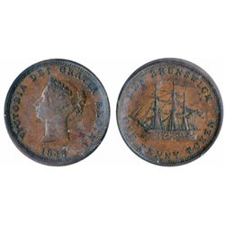 Breton-909. NB-2A. 1843. One Penny Token. ICCS Extra Fine-40.