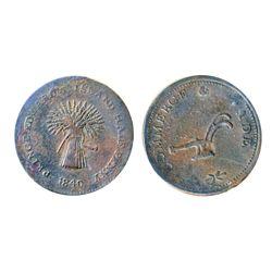 Breton-916. Charlton-PE4. The James Miner Sheaf of Wheat token. Half Penny. 1840. ICCS Extra Fine-40