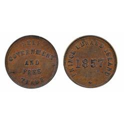 Breton-919. PE-7C1. 1857. P.E.I. ICCS AU-50. Trace of luster.