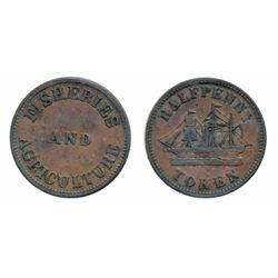 Breton-919. PE-7C4. 1857. P.E.I. ICCS Very Fine-30. (2 pcs.); Breton-921. PE-921. PE-8A1. Fisheries