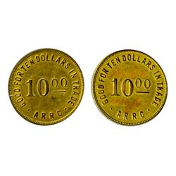 Alaska Tokens. A.R.R.C. Set of 'Good For' tokens. 1,5,10, 25, 50, $1.00. Alum. $5.00, $10.00 Brass.