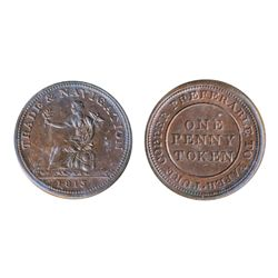 Breton-962. NS-20A3. Trade & Navigation. One Penny Token. 1813. ICCS Mint State-60.