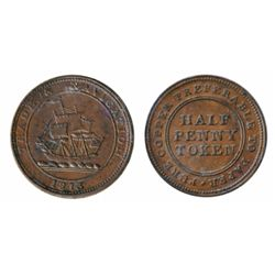 Breton-965. NS-21A3. Pure Copper Preferable to Paper. Half Penny Token. 1813. Trade & Navigation. IC