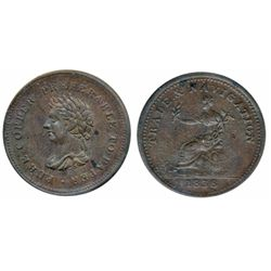 Breton-967. NS-22. Trade & Navigation. 1838. Pure Copper Preferable to Paper. ICCS Mint State-60.