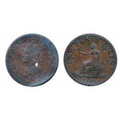 Breton-984. WE-12. One Penny Token. 1813. Vittoria. ICCS Very Fine-30. (rim nick).