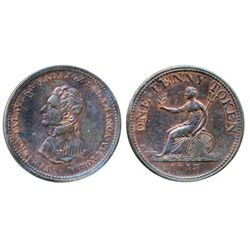 Breton-984. WE-12. One Penny Token. 1813. Vittoria. ICCS Very Fine-20.