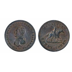 Breton-985. CH-WE13. Cossack Penny. (1813). ICCS AU-50.