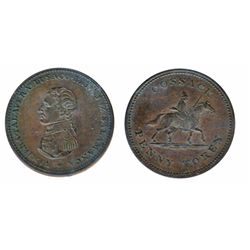 Breton-985. CH-WE13. Cossack Penny. (1813). ICCS Extra Fine-45.