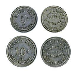 R.A. Elliott. General Merchant. Stirling, Ont. Good for 5 Cents & Good for 10 Cents. Alum. EF. Liste