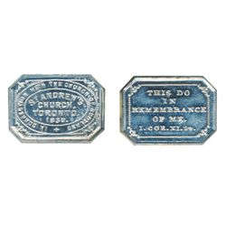 COMMUNION TOKEN. Charlton #CW344. Bowman-128. Toronto-St. Andrew's Church. ICCS Mint State-60.