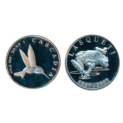 LASQUETI MINT. 1/2 Ounce. 1997-2007. Silver. Obv: Frog. Rev: Hummingbird. CCCS graded Mint State-65.