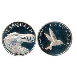 LASQUETI MINT. 1/2 Ounce. 2008..999 Silver. Obv: Crow. Rev: Hummingbird. CCCS graded Mint State-65.