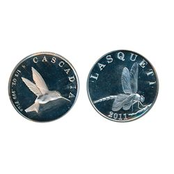 LASQUETI MINT. 1/2 Ounce. 2011..999 Silver. Obv: Mosquito. Rev: Hummingbird. CCCS graded Mint State-