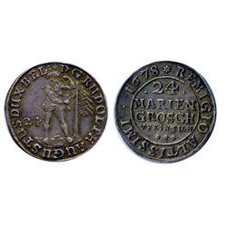 GERMANY. Brunswick-Wolfenbuttel. 24 Mariengroschen, (2/3 Thaler). 1678. Rudolf August, 1666-1704. KM