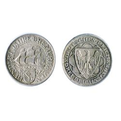 GERMANY. Weimar Republic. Bremerhaven. 1927-A. 3 Reichsmark. KM#50. AU.