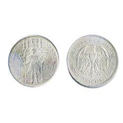GERMANY. Weimar Republic. Meissen. 1929E. 3 Reichsmark. KM#65. AU.
