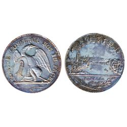 SWITZERLAND. Canton coinage. Basel. Thaler. 1785H. Dav-1755. KM#179. Obv: City view and date below a