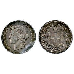 SWITZERLAND. Five Francs. 1894B. KM#34. Medium heavy toning. A scarce date. Very Fine-20.