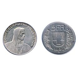 SWITZERLAND. 5 Francs. 1926-D. KM#38. Obv: William Tell facing right. Extra Fine.