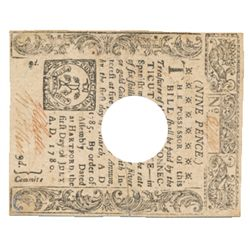COLONIAL CURRENCY. 1). Connecticut. Nine Pence. July 1, 1780. Serial No. 3796. Hole Punch cancelled.