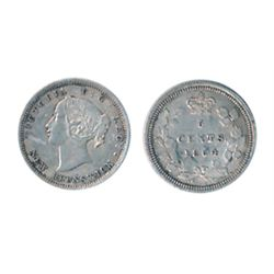 FIVE CENTS. 1864. Small '6' variety. ICCS AU-50. Lightly toned.