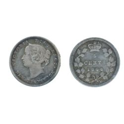 FIVE CENTS. 1864. Large '6' variety. ICCS Very Fine-20.