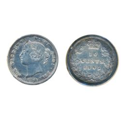 TEN CENTS. 1862. Double-Punched 2 variety. ICCS Very Fine-30. (polished). Medium heavy toning.