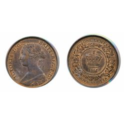 ONE CENT. 1861. PCGS graded Mint State-65. Red-Brown. 50% red remaining.