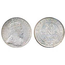 FIFTY CENTS. 1909. ICCS-AU-55. Light pearl gray toning on obverse, with very light toning on reverse