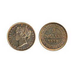1870. Obv. port. #1. (3 Dot variety). ICCS graded AU-50. Orange-gold tone.