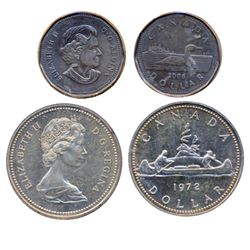 LOON. 2006. ICCS AU-55. No Aureate Plating. ALSO. $1.00. Silver. 1972. ICCS SP-65. Slight doubling o