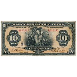 BARCLAYS BANK (CANADA). $10.00. Sept. 3, 1929. CH-30- 10-04a. No. B013112. Dickenson, left. Fine.