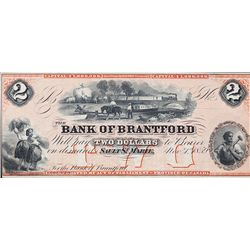 THE BANK OF BRANTFORD. $2.00. Nov. 1, 1859. CH-40-12- 04R. A Remainder. PMG graded UNC-62 EPQ.