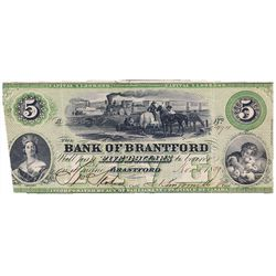 THE BANK OF BRANTFORD. $5.00. Nov. 1, 1859. CH-40-10-02-08a. No. 3494/A. PCGS graded Apparent Very F