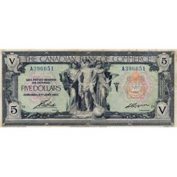 THE CANADIAN BANK OF COMMERCE. $5.00. Jan. 2, 1917. CH-75-16-04-06a. Blue Serial No. A396651/D. Sign