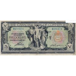 THE CANADIAN BANK OF COMMERCE. $5.00. Jan. 2, 1917. CH-75-16-04-06a. Blue Serial No. B486474/A. Sign