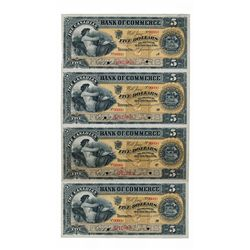 THE CANADIAN BANK OF COMMERCE. $5.00. Jan. 2, 1892. CH-75-14-04S. An uncut sheet of four Specimen no