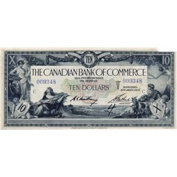 THE CANADIAN BANK OF COMMERCE. $10.00. Jan. 2, 1917. CH-75-16-02-06. Blue Serial No. 009348/C. White