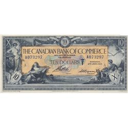 THE CANADIAN BANK OF COMMERCE. $10.00. Jan. 2, 1917. CH-75-16-04-12a. Blue Serial No. A073297/A. Sig